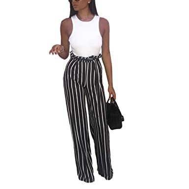 5ae58c76123761 Umvyendt Black White Striped High Waist Flare Pant Women Tie Palazzo Trouser  Lounge Pants (Color