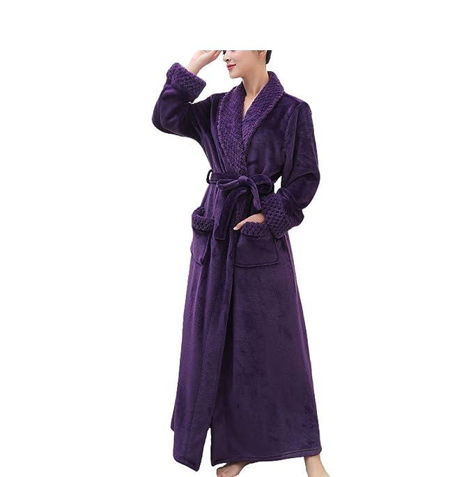 RENHONG Mujer/Hombre Unisex Otoño/Invierno Franela Acogedor Inicio Albornoz Albornoz Pijamas Grueso Cálido