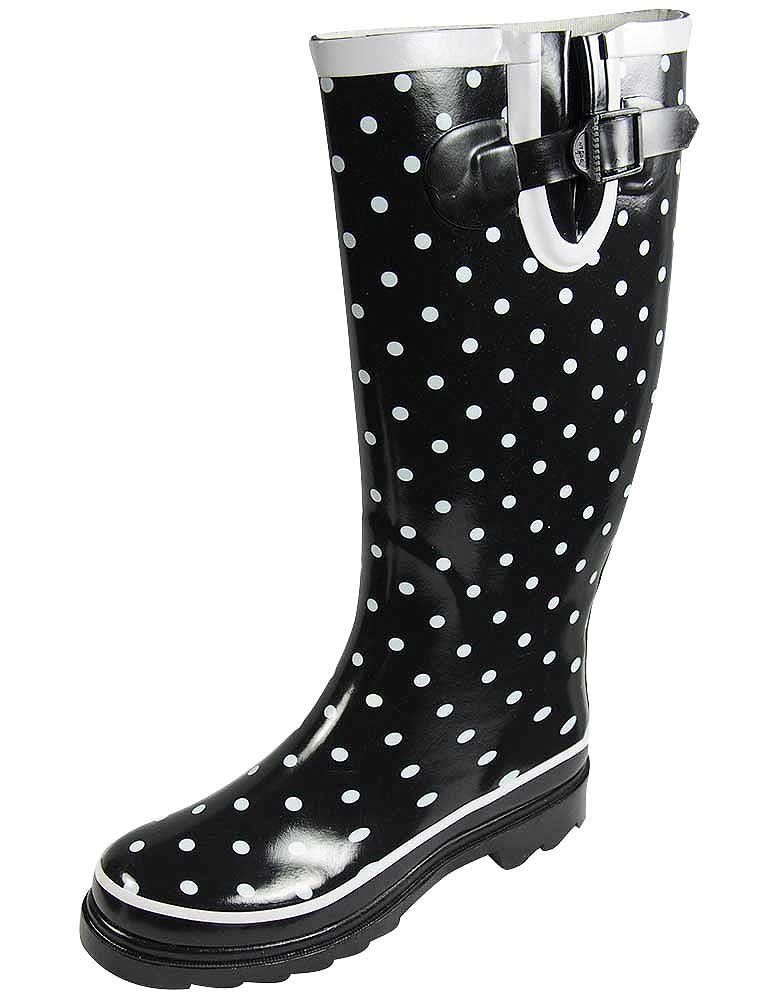 Sunville Women's Ditsy Dots Rubber Rainboot and Gardenboot,9 B(M) US,Ditsy DOTS