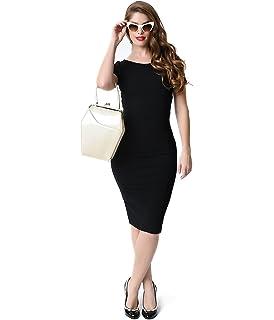 1d03b10ab0 Unique Vintage 1960s Style Black Short Sleeve Stretch Mod Wiggle Dress