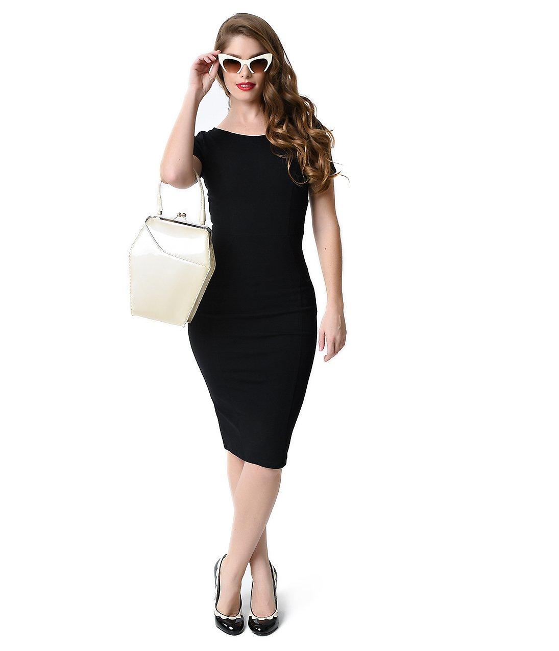 Unique Vintage 1960s Style Black Short Sleeve Stretch Mod Wiggle Dress