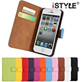 CATOE Luxury Genuine Leather Wallet Folio Stand Flip Case with Card Slot for Apple iPhone 4/4S,iPhone 5/5S, iPhone 6/6 Plus,iPhone 5C High Quality Sport Gym (Purple, Apple iPhone 5/5s)