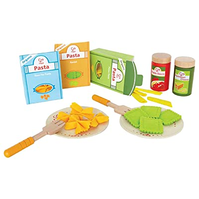 Hape Pasta Wooden Play Kitchen Food Set with Accessories: Toys & Games