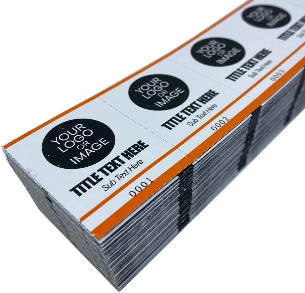 Custom Drink Tickets - Personalized Mini Tickets for Beverages or Admit One with Your Logo (Orange, 5000)