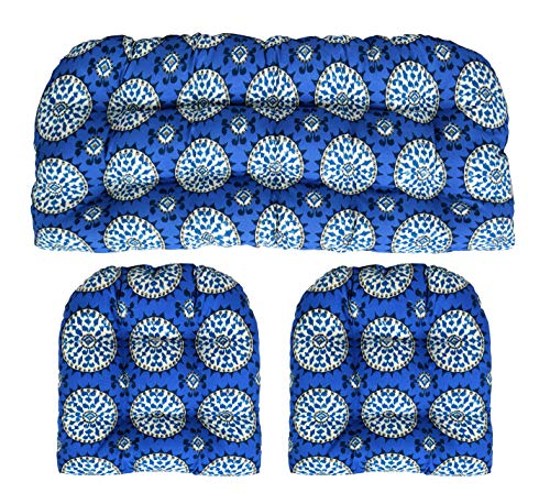 - RSH Décor Indoor Outdoor Wicker Tufted 3 Piece Set 1 - Loveseat Settee & 2 - U - Shape Chair Cushions - Dena Johara Sapphire (44