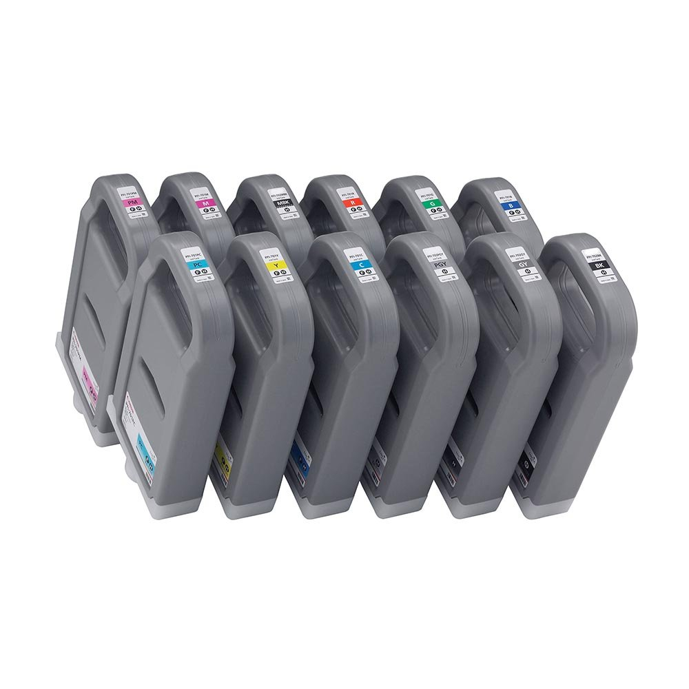 Toner Spot Remanufactured Full Color Set Ink Cartridges Replacement for Canon PFI-701 (Bk/C/M/Y/MBk/PC/PM/GY/PGY/R/G/BLUE)