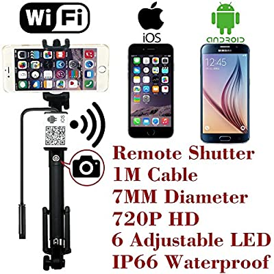 Upgraded Wifi Wireless Endoscope Built-in Remote Shutter Borescope 7mm 2MP 6 LED 720P IP66 Tube Waterproof Snake Inspection Camera System, for iphone iOS ipad Samsung Android Smartphone by AttoPro-1M from AttoPro Direct