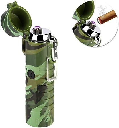 SZSMD - Mechero de arco eléctrico recargable por USB, con linterna, resistente al viento, sin llama, con caja de regalo para cigarrillos, cocina, ...