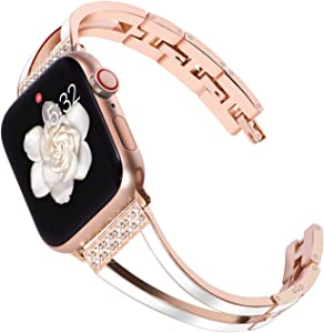 KADES Compatible for Apple Watch Band 38mm Women, Slim Stainless Steel Bracelet for Apple Watch Band 40mm Series 4 Series 5 iwatch Bands 38mm Womens (Rose Gold Bangle with White Enamel)