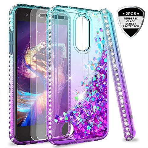 LG Aristo 2 Case, LG Aristo 3/Aristo 2 Plus/Tribute Dynasty/Fortune 2/Risio 3/Zone 4 Case w/Tempered Glass Screen Protector for Girls,LeYi Glitter Diamond Liquid Phone Case for LG K8 2018 Teal/Purple