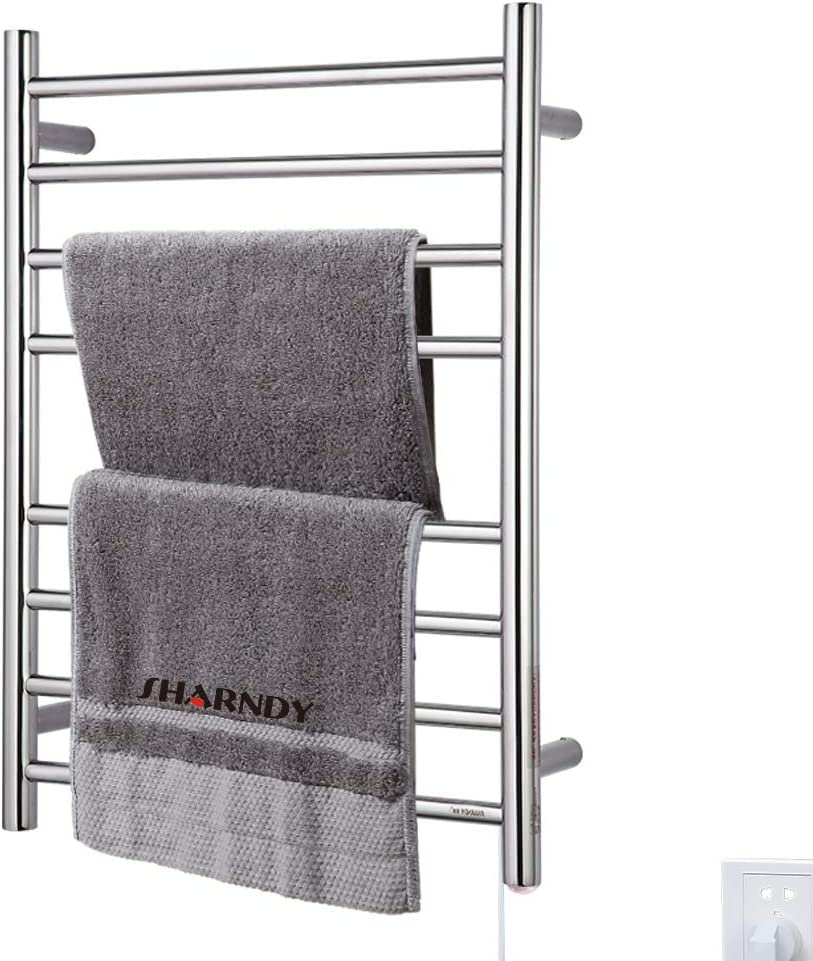 Amazon Com Sharndy Heated Towel Warmer Rack Polished Chrome Drying Rack 8 Bars Etw44 Wall Mounted Ul Listed 70w Home Kitchen