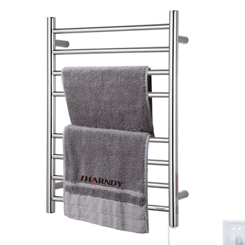 SHARNDY Heated Towel Warmer Rack Polish Chrome Drying Rack 8 Bars ETW44 Bathroom Wall Mounted UL Listed 70W ...