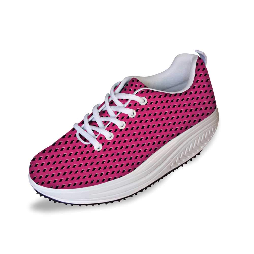 Magenta Decor Stylish Shake Shoes,Diamond Line Grill Cross Wire Design Logo Digital Motif Image for Women,8 by YOLIYANA