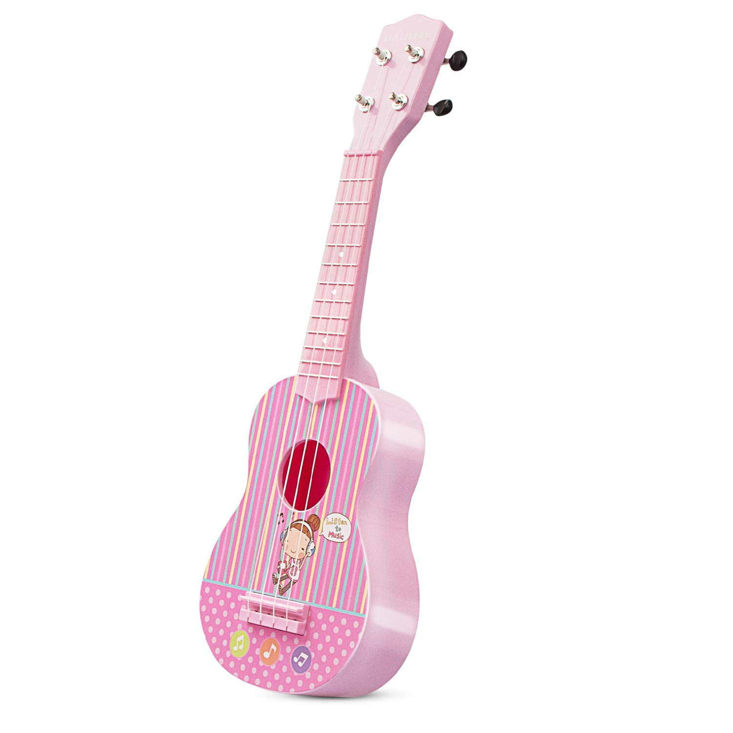 aPerfectLife 21'' Kids Ukulele Guitar Toy 4 Strings Mini Guitar Children Musical Instruments Educational Learning Toys with Picks and Strap for Toddler Kids Boys Girls Beginner Starter (Pink)