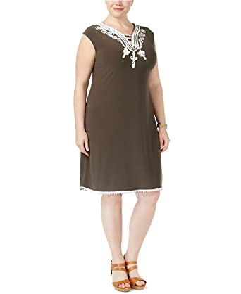 Alfani Plus Size Soutache-Trim Knit Dress in Urban Olive at Amazon ...