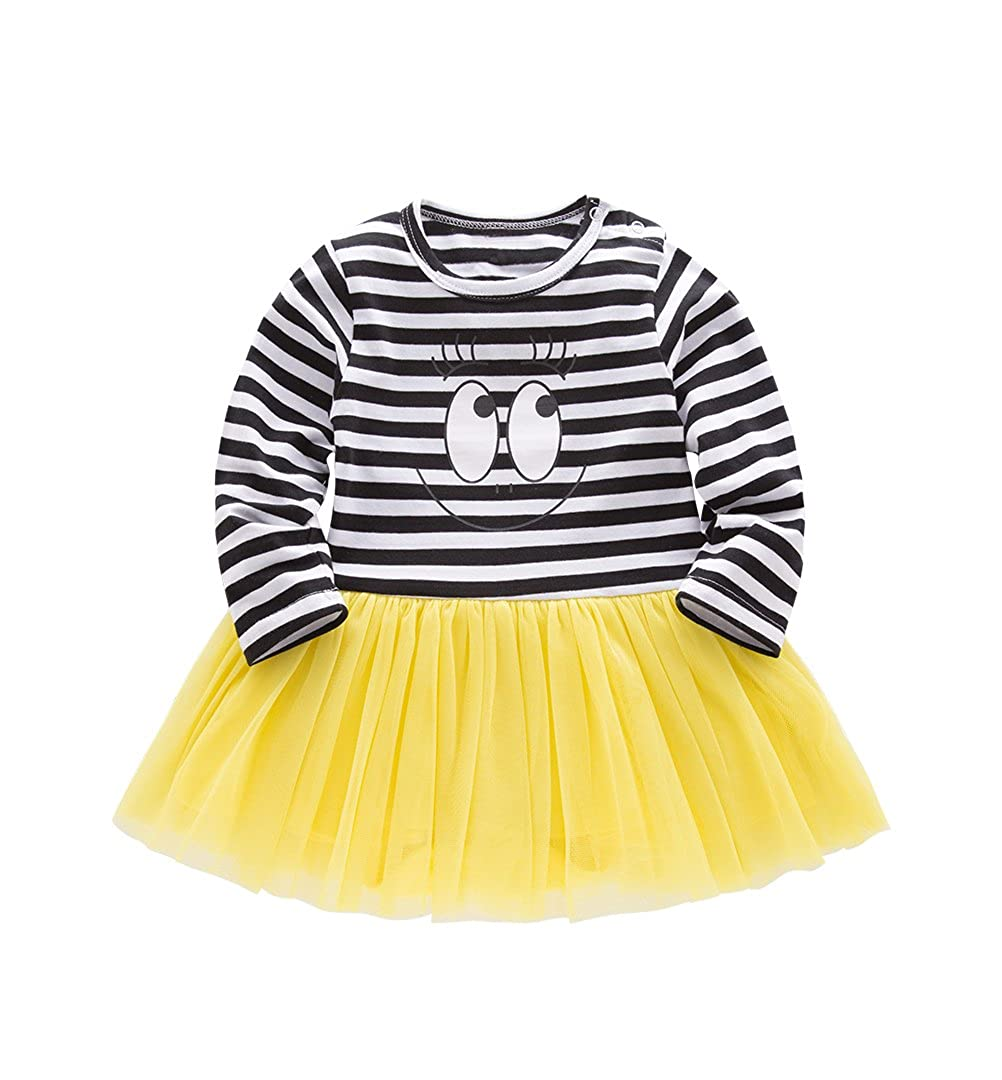 Nyan Cat Mays Baby Toddler Girls Long Sleeves Rompers Onesies Tulle Dress with Headband