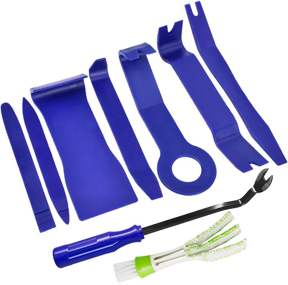 8 piezas de herramientas de eliminación de recorte automático Kits,SENHAI Car Dash Audio Radio Panel de puerta Recorte Set Herramientas,con 1pcs plumero para ventilación de aire del coche