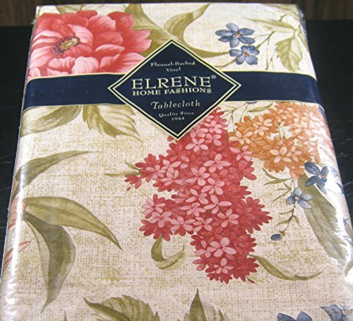 Floral on Beige - Flannel Back Vinyl Tablecloths - Assorted Sizes -Square, Oblong and Round (52x52 ()