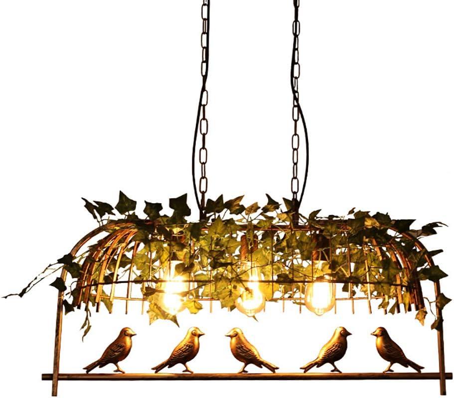 Jaula De Aves E27 Lámpara De Sala,hierro Eólico Industrial Estadounidense Luz De Techo,creatividad Lámpara De Colgante Bar Table Restaurant Bronze 3-light