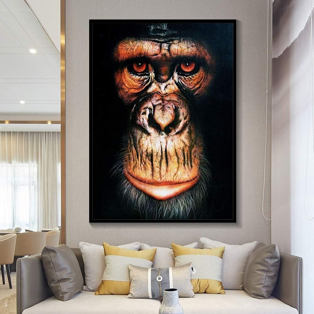 Pintura sin Marco Animal nórdico Mono Gorila póster y Lienzo de Acuarela decoración del hogarZGQ3108 30X40cm