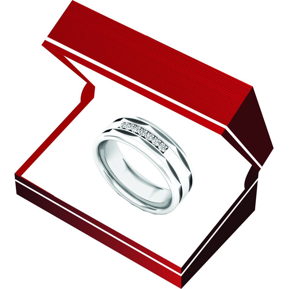 ctw Sterling Silver Dazzlingrock Collection 0.10 Carat Diamond Mens Anniversary Wedding Band 1//10 CT