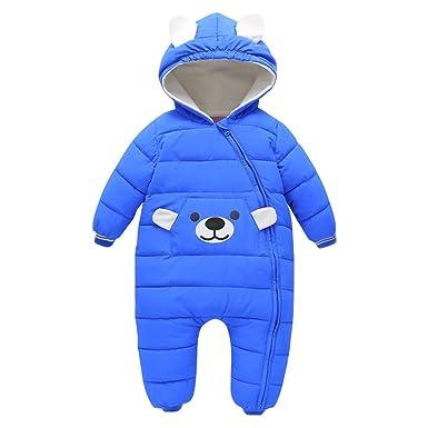 85803e769 Baby Girls Boys Cartoon Jumpsuit Hoodie Winter Romper Snuggly ...