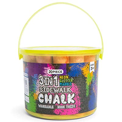 Sidewalk Chalk Set Neon Glitter Marble (20 Pk) with Bucket - kids sidewalk chalk for Outdoor Street Art and Driveway Fun, Washable Driveway Street Chalk for Kids, Side walk Chalk for Toddlers: Toys & Games