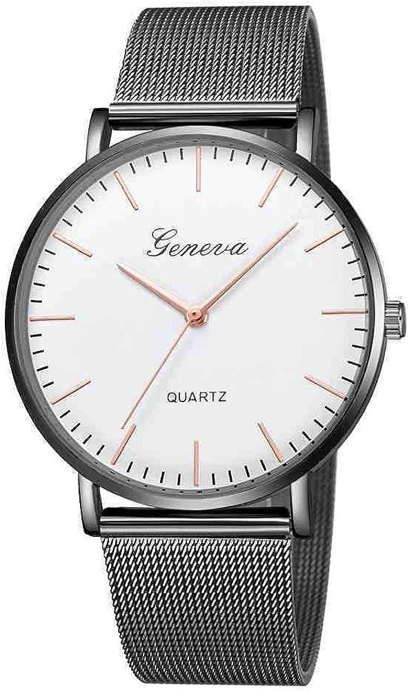 DSNGZ Reloj de Pulsera Minimalist Steel Mesh Simple Geneva Watch Women Role Quartz Watch Simple Ladies Gold Watch Women F