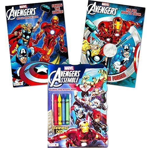 Marvel Avengers Coloring Book Super Set with Crayons (3 Jumbo Books - Over 260 Pages Total Featuring Captain America, Thor, Hulk, Iron Man and More!) ()