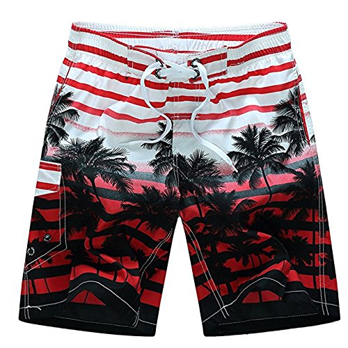 Newland Men's Colorful Stripe Coconut Tree Beach Shorts Swim Trunks Red 37-38 waist