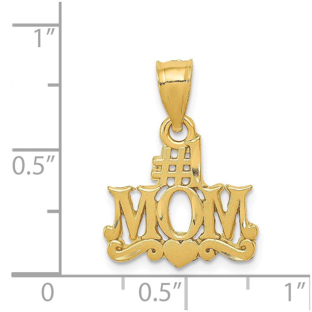 14k Yellow Gold Satin Diamond-cut #1 Mom Pendant
