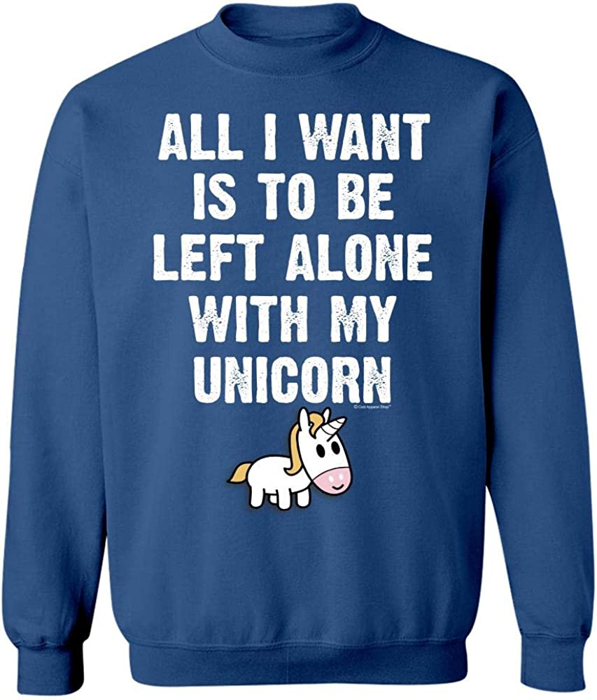 All I Want is to Be Left Alone with My Unicorn Gift Idea Sweatshirt Royal Blue