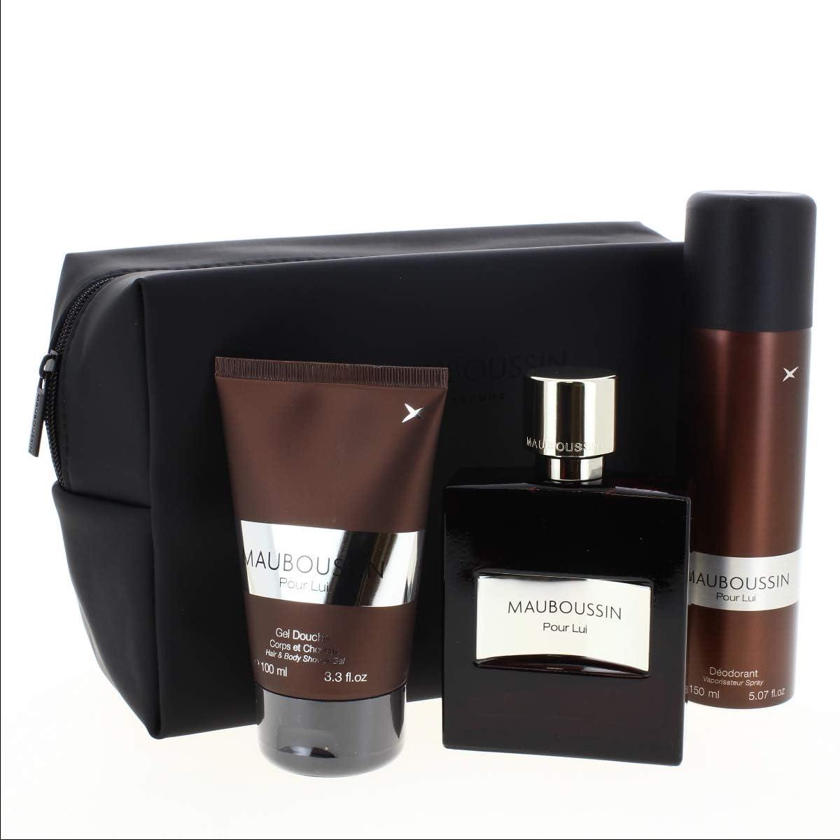Mauboussin - Estuche para él Eau de Parfum, 100 ml, desodorante, 150 ml, gel de ducha para cuerpos y cabello, 100 ml + estuche: Amazon.es: Belleza