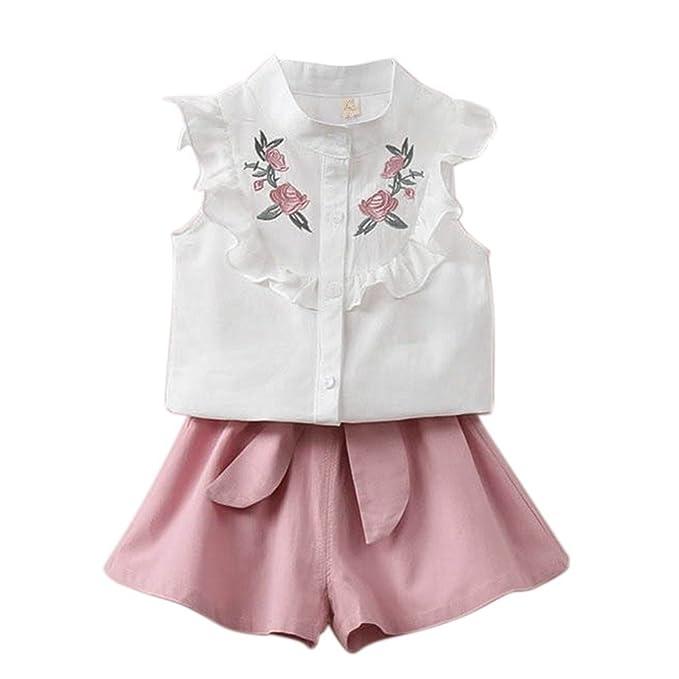 Brightup Las Niñas De Verano Algodón Flores Embroiderojo Camisa Blusa + Pantalones Cortos Traje: Amazon.es: Ropa y accesorios
