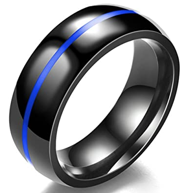 341d6ba89d111 Jude Jewelers 8MM Classical Black Stainless Steel Ring Plain Wedding Band