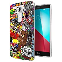 235 - Cool Fun Cartoon Stickerbomb Sticker Bomb Design LG G3 Fashion Trend CASE Gel Rubber Silicone All Edges Protection Case Cover