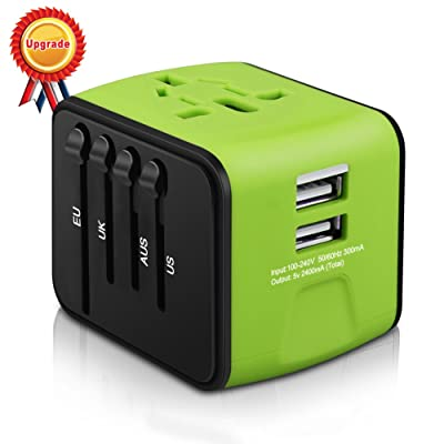 Universal Travel Adapter, All-in-one International Travel Charger with 2.4A Dual USB, Travel Power Adapter Travel Wall Charger for US, UK, EU, AU & Asia Covers 150+Countries (Green): Electronics