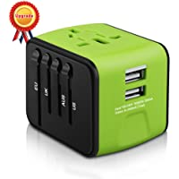 Universal Travel Adapter, HAOZI All-in-one International Travel Charger with 2.4A Dual USB, Travel Power Adapter Travel Wall Charger for US, UK, EU, AU & Asia Covers 150+Countries (Green)