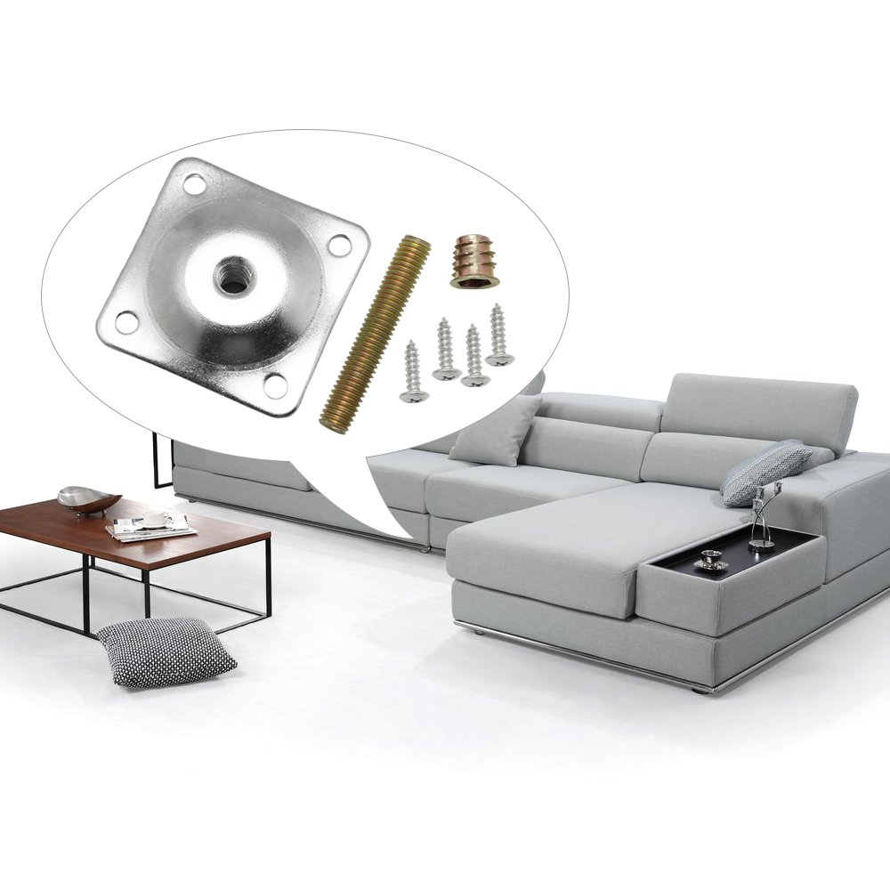 DreamTop pierna montaje de placas platos de fijación de pata con percha tornillos tornillos para muebles sofás sillones asientos, juego de 4