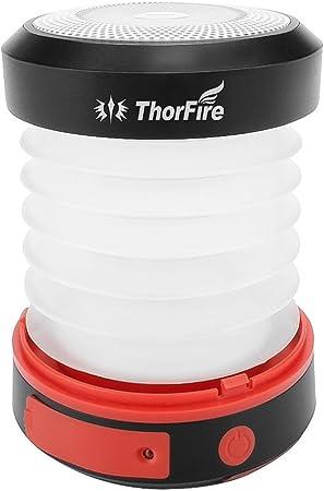 Linterna led solar para Camping Se Carga por USB y Sol batería de Emergencia para Movil Mejor para Excursionismo Camping Aventura y Otras Actividades ...