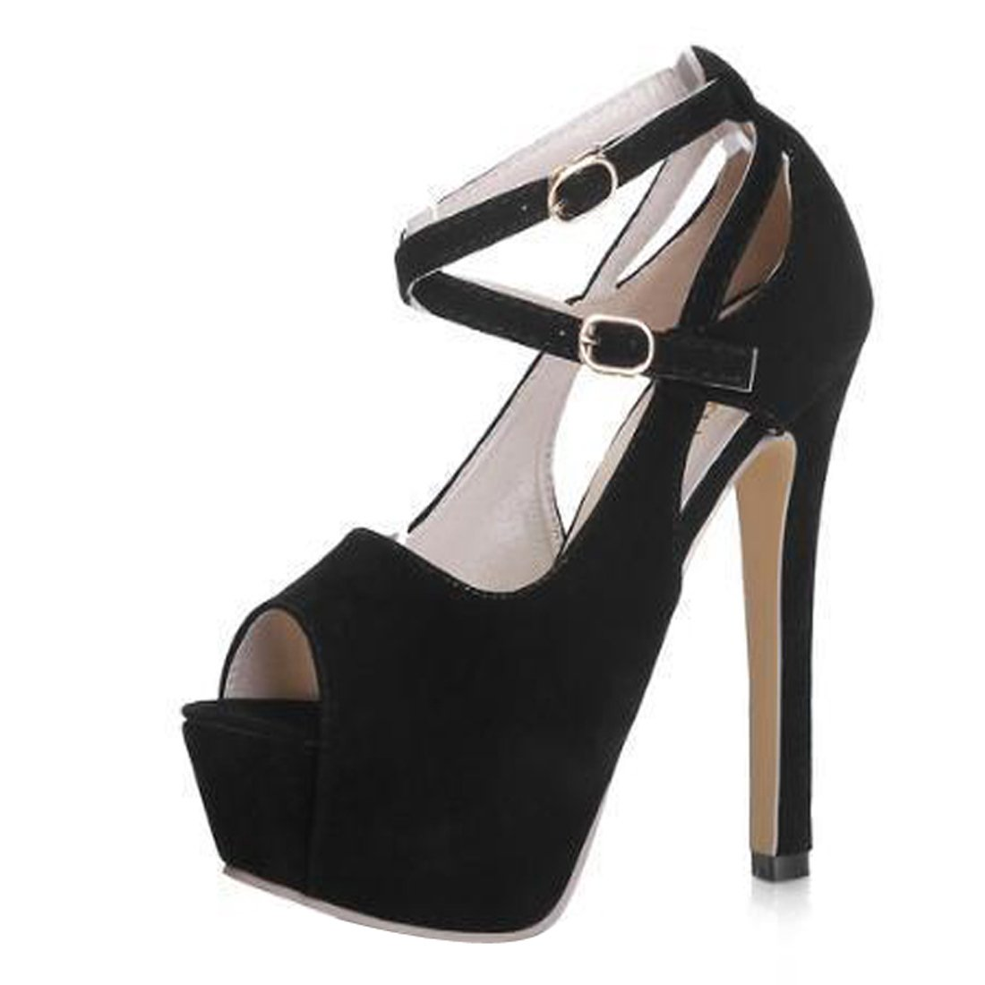 Gaorui Women Girl Peep Toe Ankle Strap Stiletto Shoes High Heel Platform Buckle Sandals