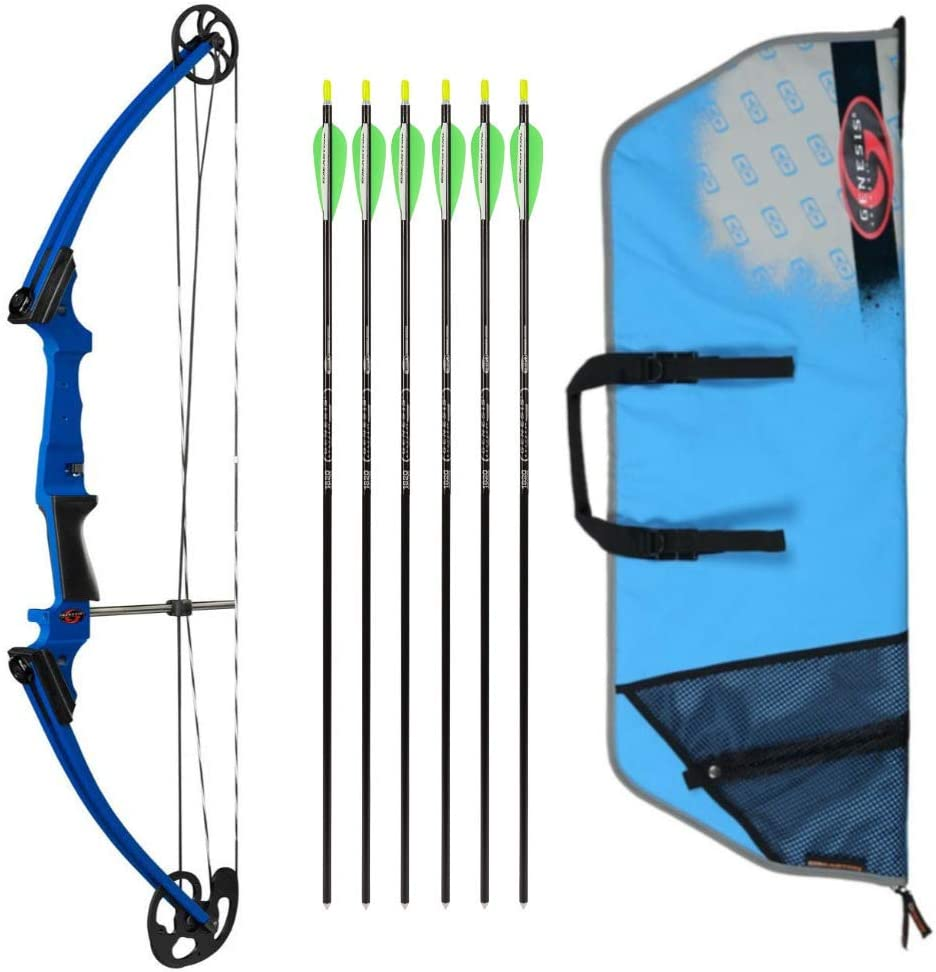 Genesis Bows Original Youth Bow with Six Arrows Bundle (Choose Your Color), NASP Official Compound Bow of The National Archery in The Schools Program