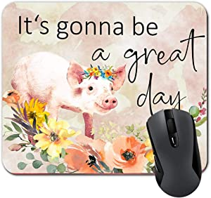 It's Gonna Be A Great Day Funny Pig Quote Mouse Pad Orange and Yellow Floral Watercolor Mousepad Farmhouse Decor Office Desk Accessories for Women