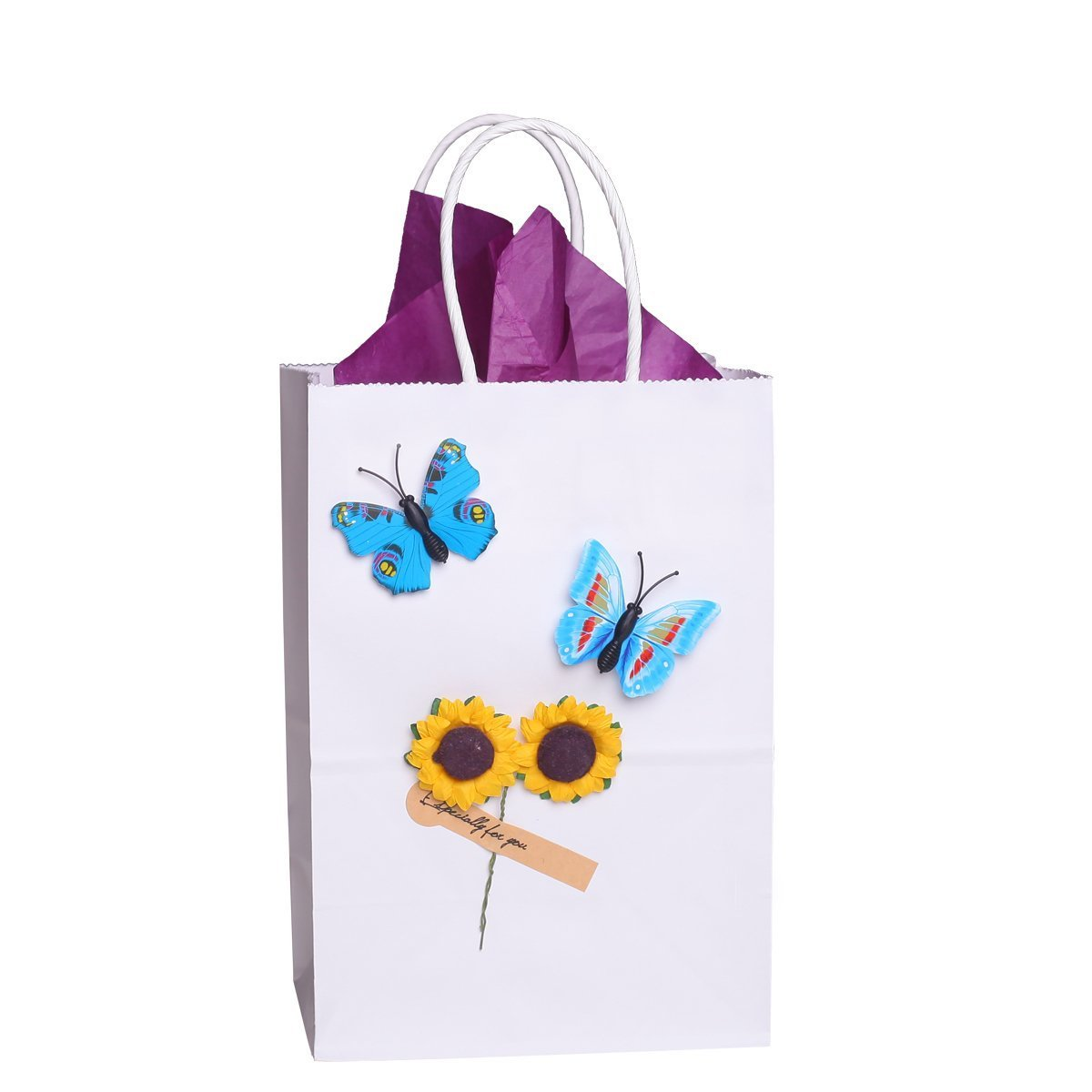 BagDream Small Kraft Paper Bags 50Pcs 5.25''x3.75''x8'', Party Bags, Shopping Bag, Kraft Bags, White Bags with Handles by BagDream (Image #5)