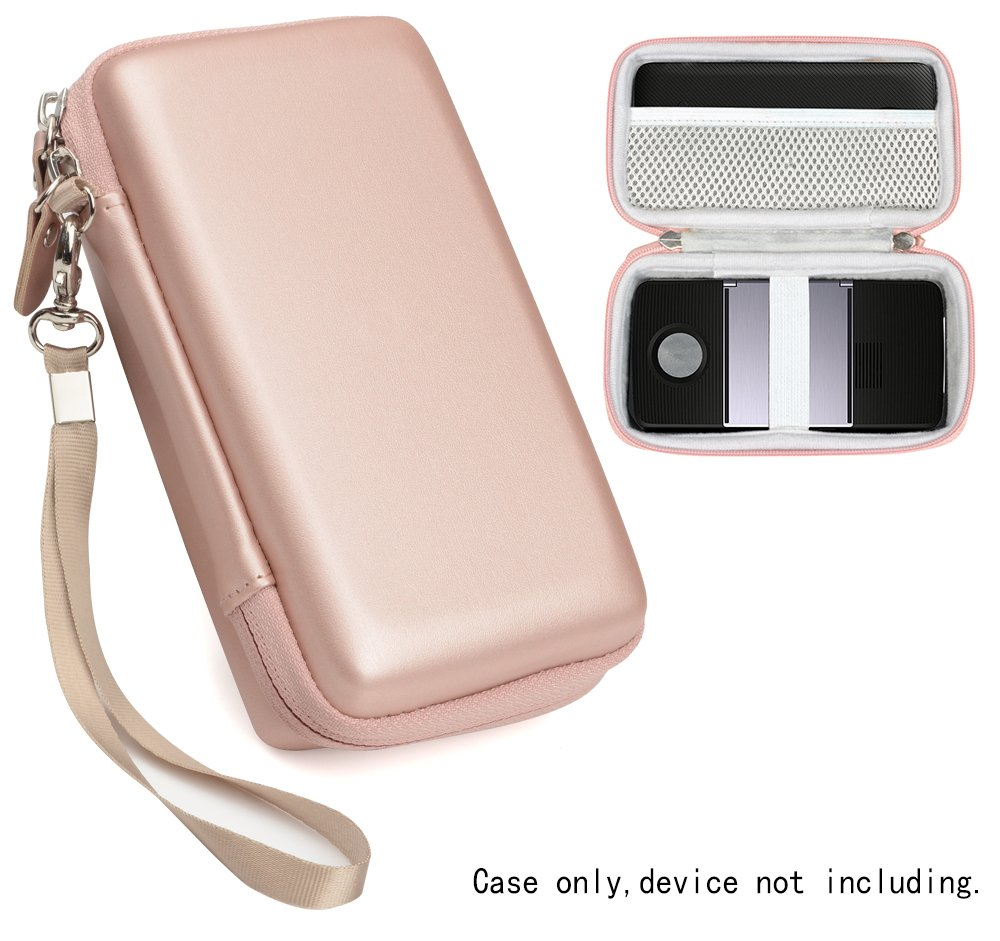 Protective Case for Moto Insta-Share Projector, Mesh Pocket for Cable, Charger and other accessories, Elastic Security strap in the base, detachable wrist strap for easy carrying, Rose Gold by CaseSack