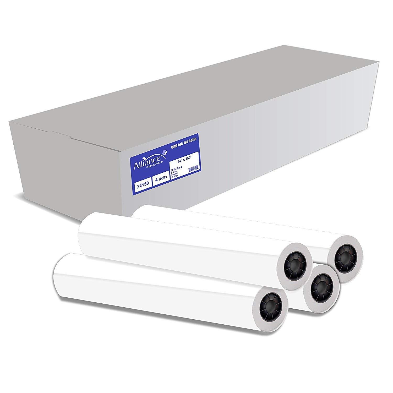 Alliance CAD Paper Rolls, 24'' x 150', 92 Bright, 20lb - 4 Rolls Per Carton - Ink Jet Bond Rolls with 2'' Core (Renewed)