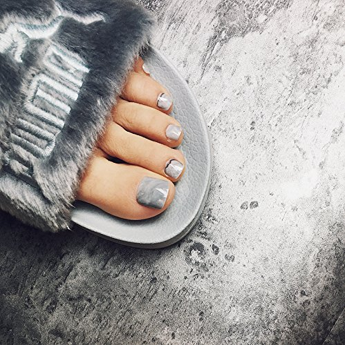 24pcs Summer Simple Dyeing Grey Marble False Toe Nail