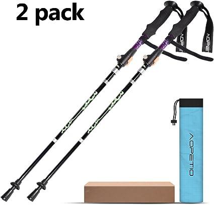 Aluminium Pliable Trekking Pole pour le camping et la randonnée avec sangle Réglable