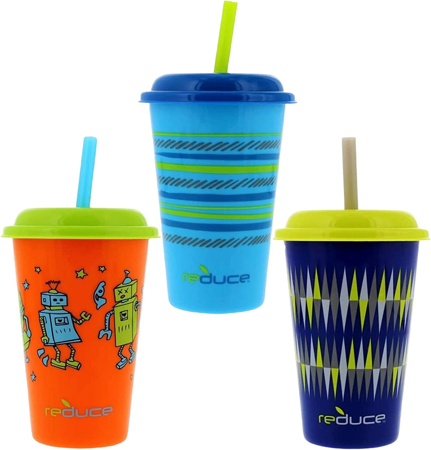 Reduce GoGo's, 3 Pack – 12oz Cups with Straws for Kids