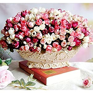 Autumn 15 Heads/Bouquet Small Bud Roses Bract Simulation Flowers Silk Rose Decorative Flowers Home Decorations For Wedding 4